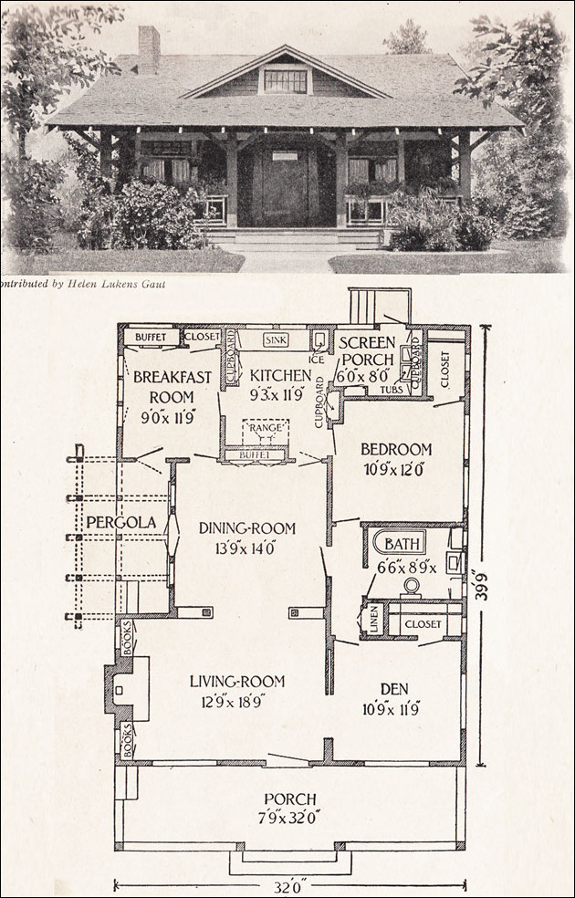 1916 california bungalow 1200 sq ft helen lukens Classic house plans