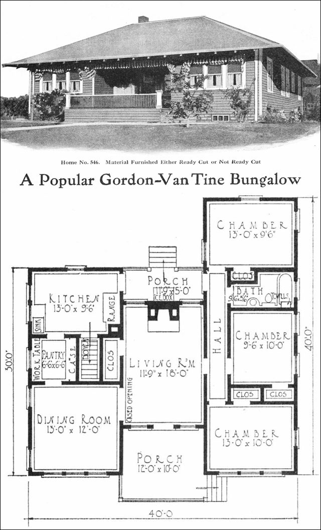 1918 eclectic bungalow 950 sq ft no 546 by gordon for Vintage bungalow house plans