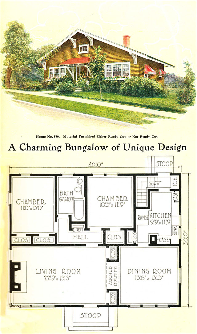 1918 gordon van tine no 580 craftsman style bungalow Modern home plans with basement