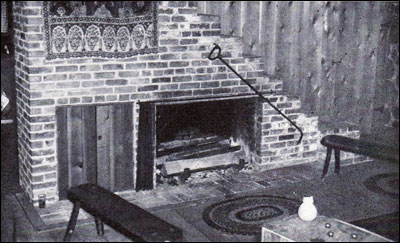 1941 Log House Fireplace & Stairs